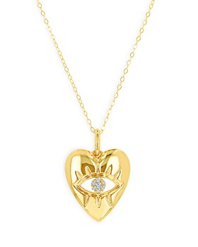 Moon & Meadow - 14K Yellow Gold Diamond Accent Evil Eye Heart Pendant Necklace, 16-18""