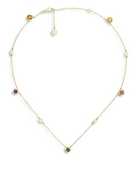 "Gucci - 18K Yellow Gold Interlocking G Rainbow Gemstone Necklace, 16.5"""