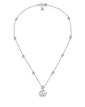 """Gucci - Sterling Silver Marmont Mother of Pearl Logo Pendant Necklace, 15.5-16.5"""""""