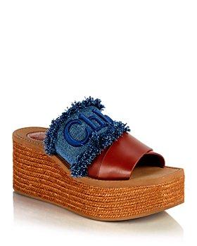 Chloé - Women's Woody Embroidered Espadrille Platform Slide Sandals