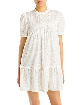 AQUA - Floral Print Pintucked Mini Dress - 100% Exclusive