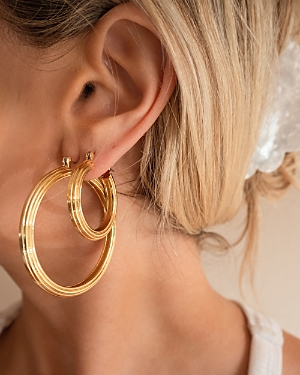 Cher Ridged Hoop Earrings in Gold Tone