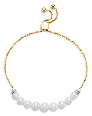 18K Yellow Gold Cultured Freshwater Pearl and Diamond Bolo Bracelet