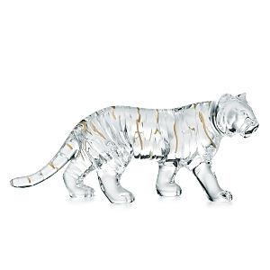Baccarat 2022 Crystal Zodiac Tiger Figurine, Clear with 20K Gold