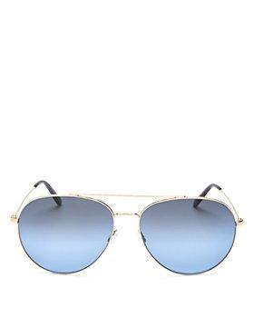 Oliver Peoples - Unisex Polarized Brow Bar Aviator Sunglasses, 61mm