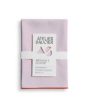 ATELIER SAUCIER - Blush & Orange Linen Napkins, Set of 4