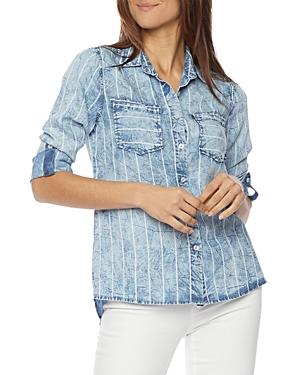 Split Back Shirt in Denim Stripe