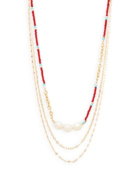 """AQUA - Triple Layered Chain & Bead Necklace, 17"""" - 100% Exclusive"""