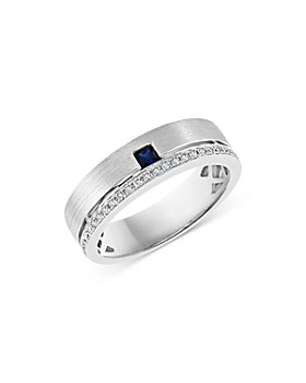 Bloomingdale's - Men's Blue Sapphire & Diamond Channel Band in 14K White Gold - 100% Exclusive