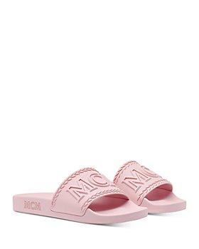 MCM - Women's Embossed Logo Slide Sandals