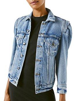 FRAME - Rosette Puffed Sleeve Denim Jacket