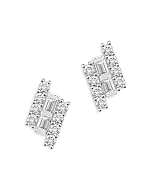 Bloomingdale's Round & Baguette Diamond Bar Stud Earrings in 14K White Gold, 0.25 ct. t.w - 100% Exc