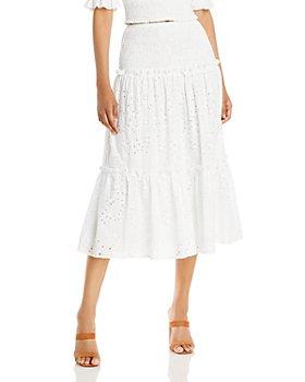 AQUA - Eyelet Smocked Waist Skirt - 100% Exclusive