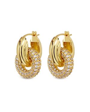 Pave Interlocking Hoop Drop Earrings in Gold Tone