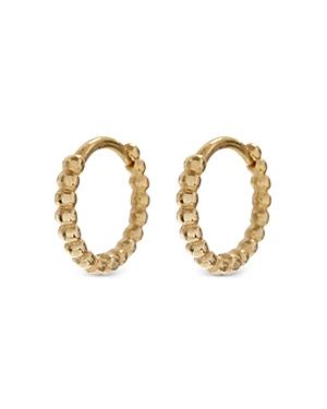 Continuous Beaded Huggie Hoop Earrings in Gold Tone