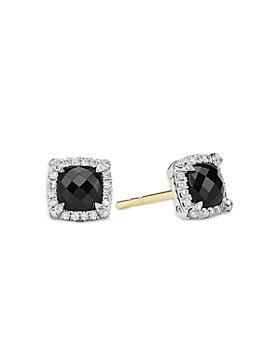 David Yurman - Sterling Silver Chatelaine Black Onyx Stud Earrings with Diamonds - 100% Exclusive