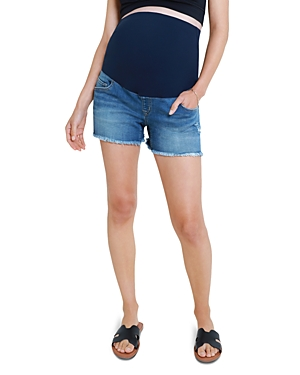 Relaxed Fit Maternity Jean Shorts in Medium Wash