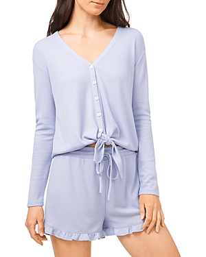 Image of 1.state Button Front Tie Hem Top