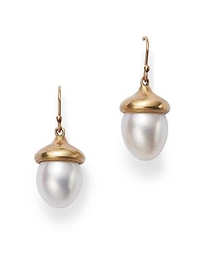 14K Yellow Gold Cultured Pearl Acorn Drop Earrings