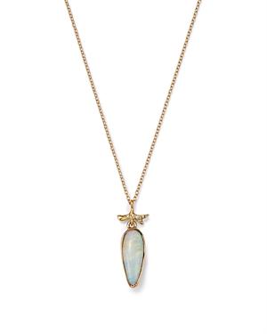 18K Yellow Gold Opal & Diamond Branch Pendant Necklace