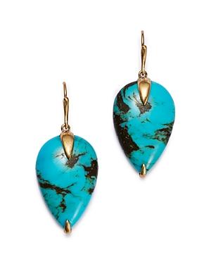 18K Yellow Gold Sleeping Beauty Turquoise Drop Earrings