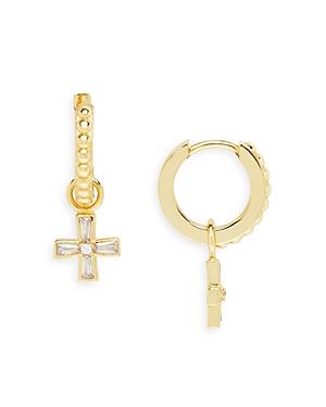 Modern Relic Cross Huggie Earrings