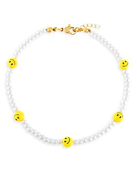 Adinas Jewels - Smiley Face & Faux Pearl Beaded Ankle Bracelet in Gold Tone