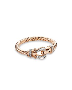 David Yurman - Petite Buckle Ring in 18K Rose Gold with Diamonds