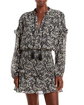 AQUA - Leopard Smocked Mini Dress - 100% Exclusive