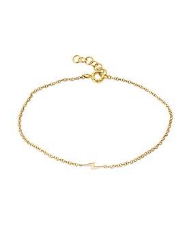 Zoe Lev - 14K Yellow Gold Tiny Lightening Bolt Chain Link Bracelet