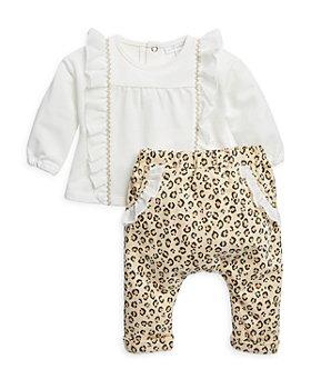 Miniclasix - Girls' Ruffled Top & Leopard Print Pants Set - Baby