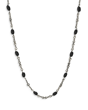 Black Onyx Cable Chain Necklace in Rhodium Plated Sterling Silver