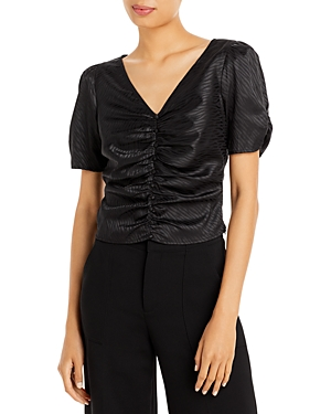 Ruched Short Puff Sleeve Top