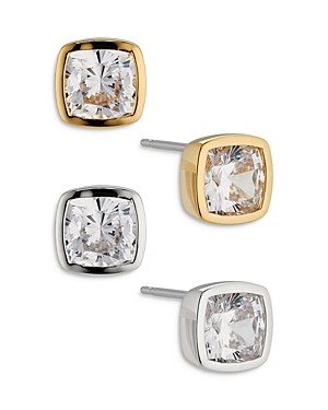 Nadri Coco Cubic Zirconia Stud Earrings in Silver Tone and Gold Tone, Set of 2