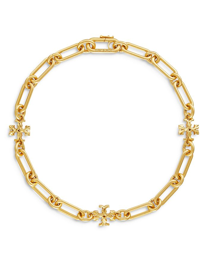 "Tory Burch - Roxanne Link & Logo Choker Necklace in Gold-Tone, 15"""