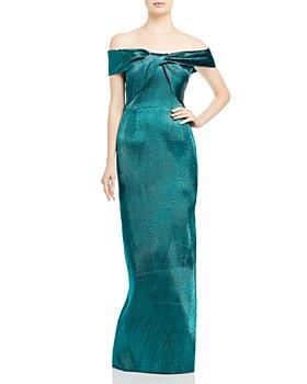 Teri Jon by Rickie Freeman - Metallic Jacquard Off-the-Shoulder Gown