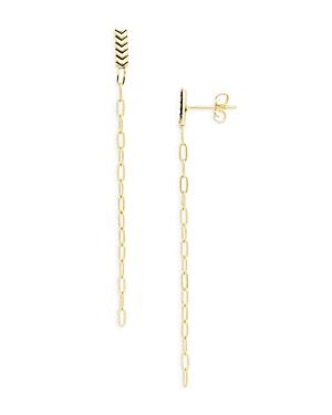 Chevron & Chain Linear Drop Earrings in 14K Gold Plated Sterling Silver