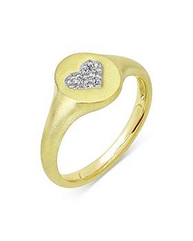 Meira T - 14K Yellow Gold Diamond Heart Signet Ring