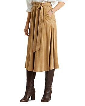 Ralph Lauren - Suede Belted Midi Skirt