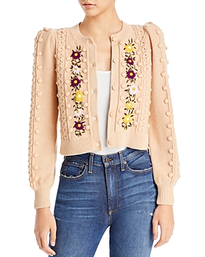 Kitty Embroidered Puff Sleeve Cardigan