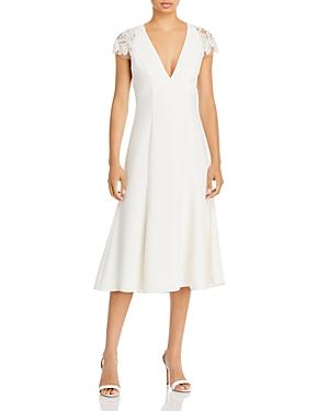 V Neck Lace Shoulder Midi Dress