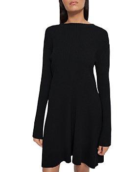 Theory - Moving Rib Empire Wool Long Sleeve Mini Dress