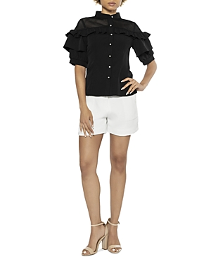 See Through Shoulder Ruffle Sleeve Blouse (49% off)