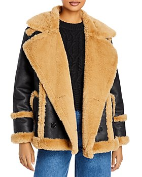 FRENCH CONNECTION - Belen Faux Fur Double Breasted Jacket