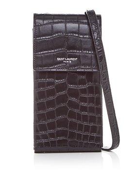 Saint Laurent - Croc Embossed Leather Phone Pouch