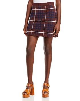 En Saison - Plaid Knit Sweater Skirt