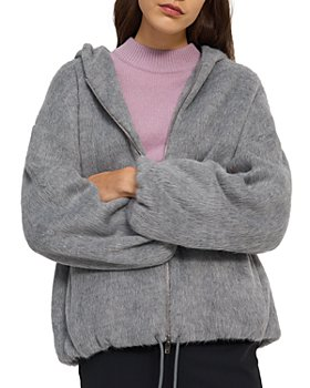 Theory - Faux Fur Oversized Zip Hoodie
