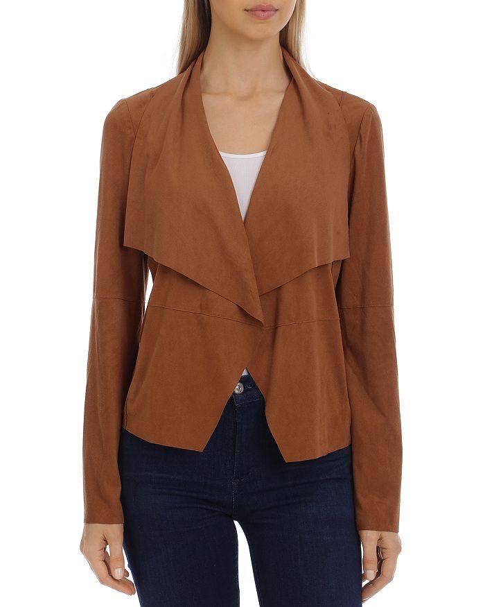 Bagatelle Faux-suede Drape-front Jacket In Cognac