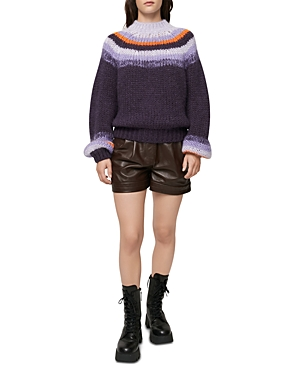 Maje Striped Mock Neck Sweater