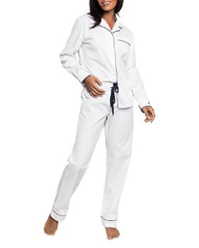 Petite Plume - Cotton Classic White Twill Pajama Set With Navy Piping